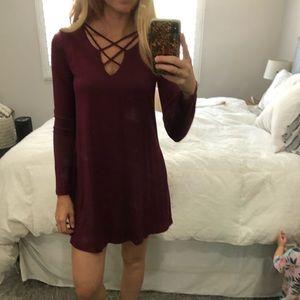 Long sleeved maroon dress